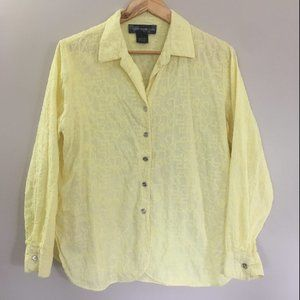 Susan Graver Style Yellow Cotton Button Up Blouse